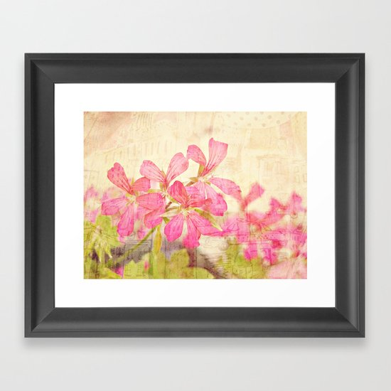 Vintage Whimsical Watermelon Pink Summer Geraniums in the City Montage Collage _  très chic Framed Art Print