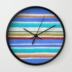 AZTEC BLANKET - BLUE Wall Clock