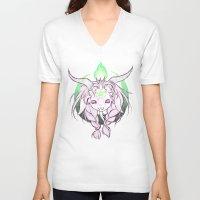 baphomet V-neck T-shirts featuring Baphomet V3 by Savannah Horrocks