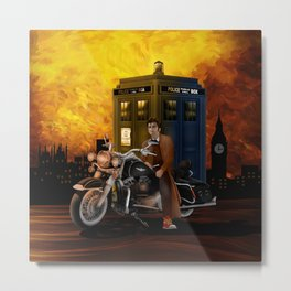 10th Doctor who with Big Motorcycle Metal Print