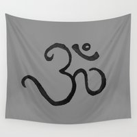 plain Wall Tapestries featuring Ohm / OM - Grey Plain by HollyJonesEcu