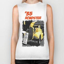 Classic yellow roadster Biker Tank