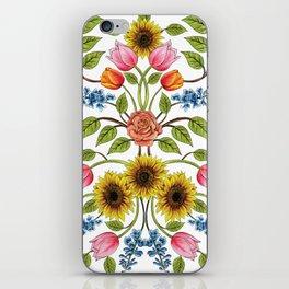 Spring Flowers Pattern - Sunflowers, Tulips, Roses & Delphinium iPhone Skin