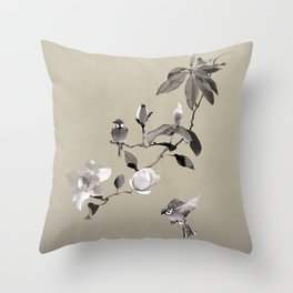 Magnolia And Two Sparrows Throw Pillow