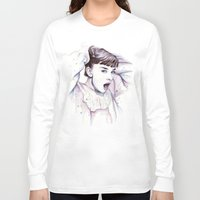 hepburn Long Sleeve T-shirts featuring Audrey Hepburn Watercolor by Olechka