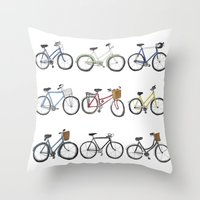 bicycles Throw Pillows featuring Bicycles by Bianca_CS