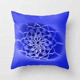 Oil on Rock -- negative image -- deep blue Throw Pillow