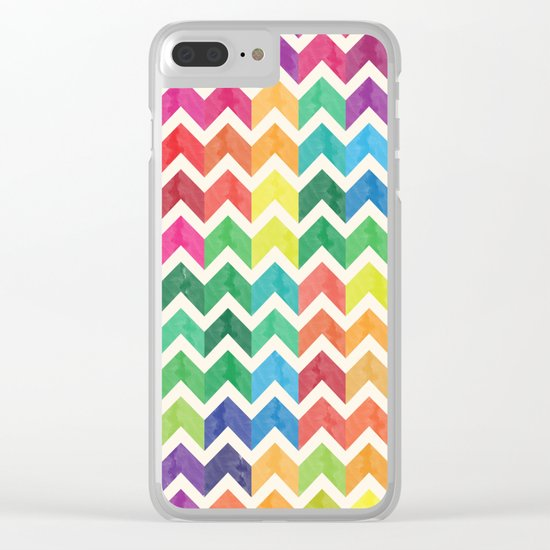 Watercolor Chevron Pattern IV Clear iPhone Case