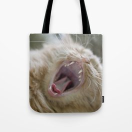 Ginger Cat With Long Whiskers Yawning Tote Bag