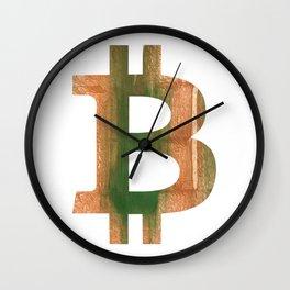 Bitcoin Peru green streaked wash drawing Wall Clock