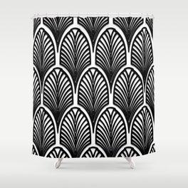 Art deco,Black and white pattern, vintage,nouveau,chic and elegant, belle époque,fan pattern Shower Curtain