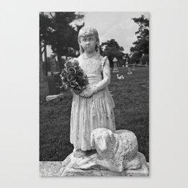 Girl Statue Black & White Canvas Print