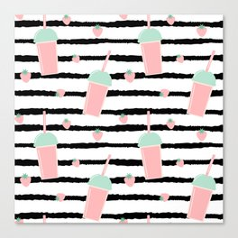 cute lovely pattern background with strawberry smoothies on black brush Canvas Print