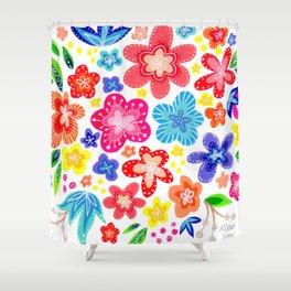 Bright Flower Bouquet Cluster Shower Curtain