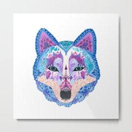 Henna Wolf Metal Print