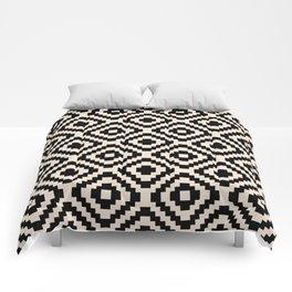 Black and Cream Square Diamonds Comforters