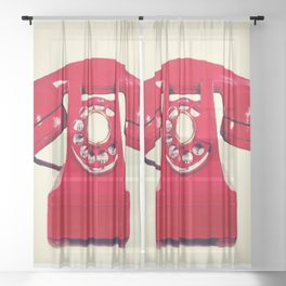 Red phone Sheer Curtain