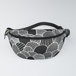 Striped Scallops - White on Black Fanny Pack