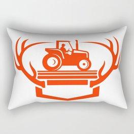White Tail Deer Antler Tractor Retro Rectangular Pillow