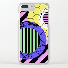 Stripes? Marble? Hex? - Random, eclectic, geometric, abstract design Clear iPhone Case