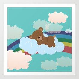 Teddy Bear and clouds Art Print