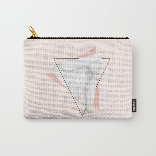 White Marble Geometric Triangle Shapes Salmon Pink Carry-All Pouch