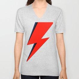 Red Bowie David Lightning Bolt Unisex V-Neck