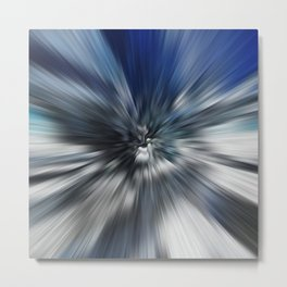 Abstract Black And Blue Starburst Metal Print