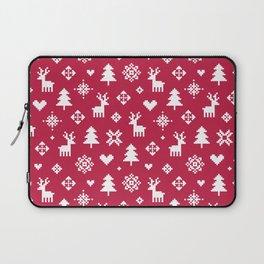 PIXEL PATTERN - WINTER FOREST RED Laptop Sleeve