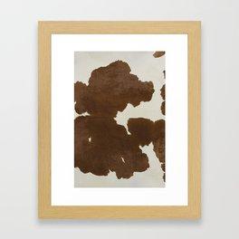 Dark Brown & White Cow Hide Framed Art Print