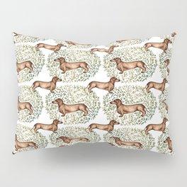 Dachshund Sausage Dog Print Botanical Pillow Sham