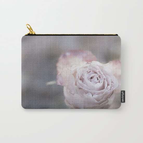 Frozen Pink Rose in Winter - Roses and Flowers Carry-All Pouch