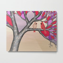 northern cardinals in the stained glass tree Metal Print
