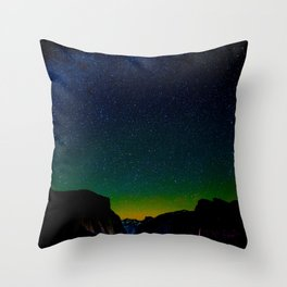 Starry Night Sky Stars Landscape Silhouette Colorful Green Turquoise Sky Ombre Throw Pillow