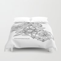 vermont Duvet Covers featuring Vermont Zentangle Snow Flakes Illustration by Vermont Greetings