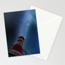 Lighthouse under starry sky Stationery Cards