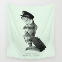 pilot Wall Tapestries featuring The Pilot (colour option) by Eric Fan