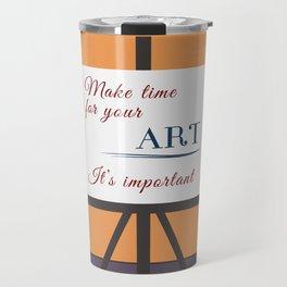 Make Time For Art (Colorful Calligraphy) Travel Mug