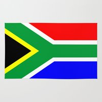 south africa Area & Throw Rugs featuring south africa country flag by tony tudor