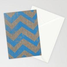 blue chevron on linen Stationery Cards