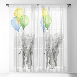Elephant with Three Balloons Sheer Curtain