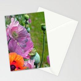 PINK & ORANGE POPPIES GARDEN Stationery Cards