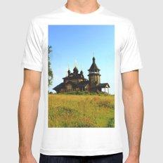 Wooden Church, Merkushino, Russia White MEDIUM Mens Fitted Tee