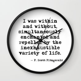 Within and without - F Scott Fitzgerald Wall Clock