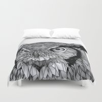owl Duvet Covers featuring Owl by Puddingshades
