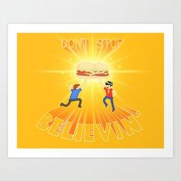 Burger Hug-Five Art Print