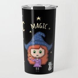 Pixel Witch (Pixel Art/Black) Travel Mug