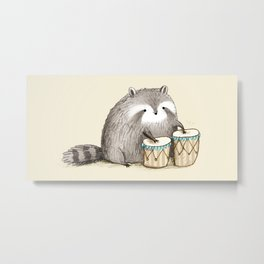 Raccoon on Bongos Metal Print