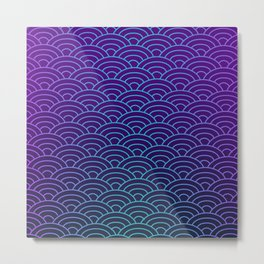 Seigaiha Synthwave Colors Metal Print