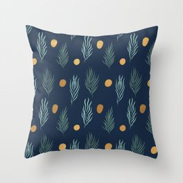 Gold dot and deep blue leaf pattern Throw Pillow